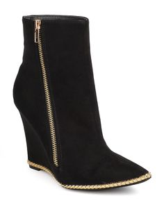 Miss L DC52 Women Suede Pointy Toe Chain Single Sole Wedge Bootie - Black ** See this great product.