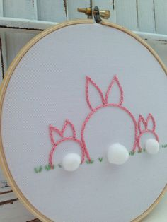 made to order . bunny family embroidery hoop . customize to suit your family . ooak . new parents . housewarming on Etsy, $33.10 CAD