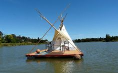 Relaxshacks.com - Where Teepees and Houseboats Collide! A College Student's Shantyboat/Raft Dwelling