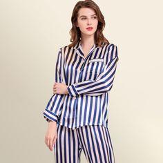 Black And White Striped Silk Pajama Set For Women Silk Sleepwear, Silk Pajamas, Nightwear, Night Suit, Night Gown, Neon Yellow Tops, Home Outfit, Pajama Set, Evening Gowns