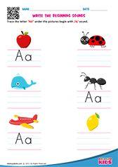 Beginning Sounds Nursery Worksheets, Printable Preschool Worksheets, Phonics Worksheets, Kindergarten Worksheets, Printables, Preschool Phonics, Preschool Writing, Teaching Phonics, English Activities For Kids