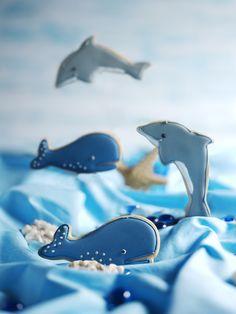Icing koekjes zee thema, dolfijn en walvis