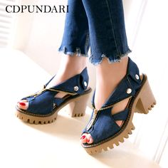 fd076018187 CDPUNDARI Denim Platform sandals Women High heel Sandals zipper summer shoes  Big Size chaussures femme ete