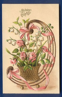 ANTIQUE Happy Birthday postcard Lily of the Valley