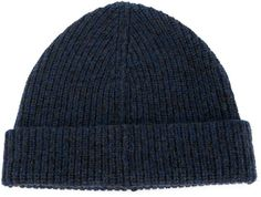 $235, Navy Beanie: Lanvin Turned Up Ribbed Beanie. Sold by farfetch.com. Click for more info: https://lookastic.com/men/shop_items/284299/redirect