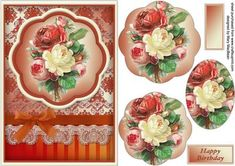 Victorian Bouquet Petal Pyramid Card Fronts on Craftsuprint - Add To Basket!