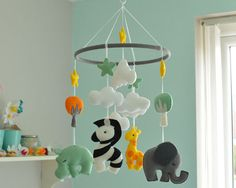 Animal Mobile  Baby Mobile  Felt Mobile  Mulicoloured