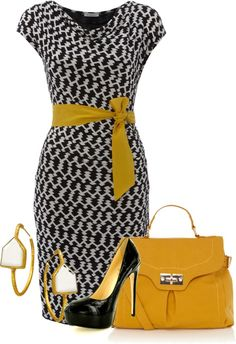 """Black & Mustard"" by ljjenness on Polyvore"