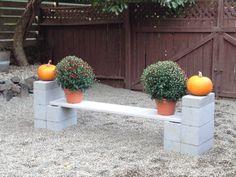 Cinder Block Garden Ideas   Cinder block bench