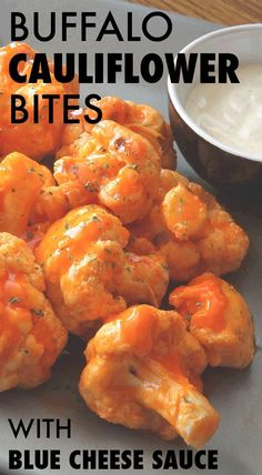Buffalo Cauliflower Bites with Blue Cheese Sauce - Swap out fried buffalo chicken wings for these cauliflower bites that taste just as good, with way fewer calories. Top it off with this two-ingredien (Vegetarian Recipes For Two) Baked Buffalo Cauliflower, Cauliflower Recipes, Cauliflower Wings, Roasted Cauliflower, Cauliflower Pizza, Healthy Snacks, Healthy Eating, Healthy Recipes, Vegetarian Recipes