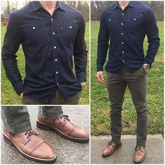 Casual Day Off A dark denim shirt is an essential piece I'd. Style Casual, Men Casual, Chinos Men Outfit, Olive Chinos, Herren Style, Denim Shirt Men, Denim Jeans, Look Man, Herren Outfit