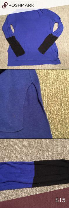 Victoria's Secret Side-Slit Sweater Side-Slit Sweater purchased at Victoria's Secret. Brand is MODA International. Size L. Beautiful shade of blue with quarter black sleeves. Victoria's Secret Sweaters Crew & Scoop Necks