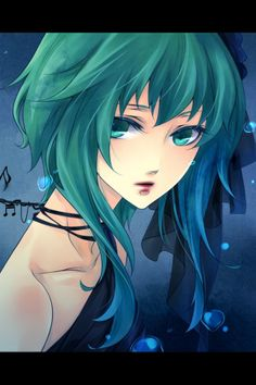 anime hair color | Hair color: Mostly sea-green, but fades to teal, then fresh-water blue ...