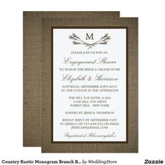 Country Rustic Monogram Branch Burlap Engagement Card