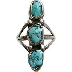 Long VINTAGE Native American NAVAJO Turquoise Ring STERLING Silver Natural Gemstones Size 5.25 c.1960s #NavajoRing #TurquoiseRing