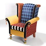 Maestro Chair.  MacKenzie-Childs.  Would be fun in a nursery or colorful Florida room.