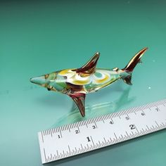 CRYSTAL SHARK HAND BLOWN GLASS ANIMAL FIGURINE MINIATURE HOME DECOR