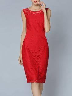 #AdoreWe #StyleWe Dresses - She's Red Elegant Pierced Crew Neck Lace Midi Dress - AdoreWe.net