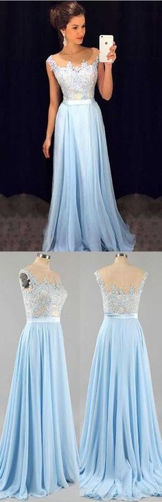 Simple Prom Dresses, lace prom dresses light sky blue prom dress modest prom gown a line prom gown lace evening dress chiffon evening gowns lace party gowns LBridal Modest Prom Gowns, Long Prom Gowns, Prom Dresses 2017, A Line Prom Dresses, Ball Dresses, Bridesmaid Dresses, Dress Long, Dress Prom, Prom Long