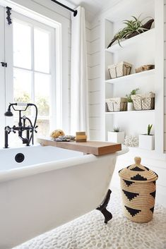 Emily Henderson Mountain Fixer Upper Rethink The Pebble Bathrooms claw foot bathtub