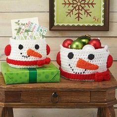 Herrschners® Jolly Snowman Baskets Crochet Yarn Kit