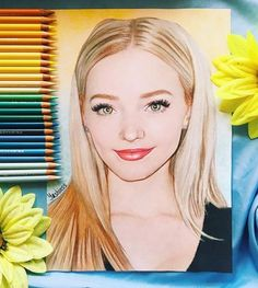 """""""New portrait of wonderful ⭐️❤️ Guys, please tag her in comments down below and maybe she'll see it. Cool Art Drawings, Pencil Art Drawings, Kawaii Drawings, Disney Drawings, Cartoon Drawings, Realistic Drawings, Dove Cameron, Colored Pencil Portrait, Color Pencil Art"""