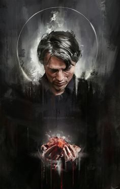 Another Saint Hannibal (…)-holding a heart bc it fits the Halloween theme, and it kinda ties in with my Radiance piece <; (I'm aware it looks like Hannibal . Hannibal Tv Series, Nbc Hannibal, Hannibal Lecter, Hannibal Wallpaper, Dead Stranding, Sir Anthony Hopkins, Will Graham, Hugh Dancy, Chef D Oeuvre