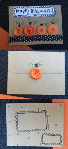 DIY Halloween Card with Button Pumpkins