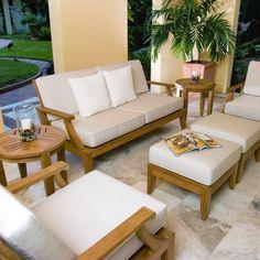 Laguna Teak Sofa and Lounge Chair Set - Westminster Teak Outdoor Furniture Teak Garden Furniture, Royal Furniture, Modular Furniture, Furniture Showroom, Patio Furniture Sets, Furniture Layout, Furniture For Small Spaces, Luxury Furniture, Furniture Design