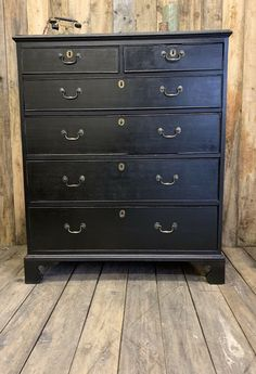 Antique Large Georgian Solid Oak Chest Of Drawers Ebonised Style 2 Over 4  | eBay
