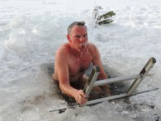 Sauna and ice dip challenge during day time.