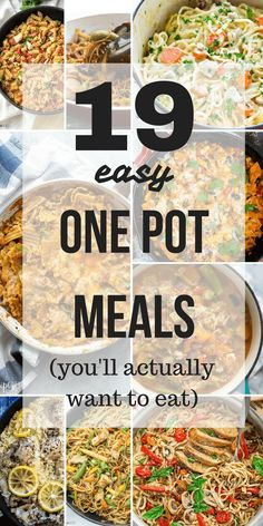 These easy ONE pot meals are the answer to your weeknight dinner problems! They are quick, healthy and hearty and no one will be complaining about what's for dinner :) one pot meal | one pan meal | one pot pasta | easy recipe | chicken recipe | family friendly | dinner ideas
