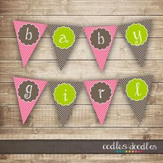 Baby Girl Banner / Pink & Brown and Green Pennant Banner by OandD
