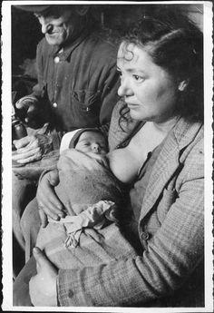 "Salzburg, Austria, A woman nursing a baby in the ""Beit Bialik"" DP camp, Postwar. Lest We Forget, Special People, Women In History, One In A Million, World War Two, Female Bodies, Ww2, Vintage Photos, Salzburg Austria"