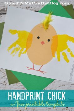 Handprint Chick Kid Craft w/free printable template