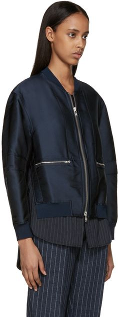 3.1 Phillip Lim - Navy Layered Satin Bomber
