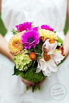 Uniquely Arranged Bridal Bouquet: Light Pastel Pink Dahlia, Fuchsia Anemones, Coral/Blush/Yellow Dahlias, Green Snowball Viburnum, & Green Trick Dianthus + Green Foliage