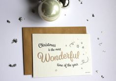 Christmas card, merry christmas, kerstkaart, goud, zwart, kerst, wenskaart, kaart, kraft door JolisMots op Etsy