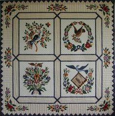Love the framing of the these block. This is a very elegant quilt! Baltimore quilt Made by Eva Johansen DK