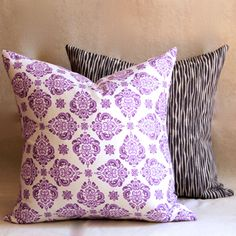 Purple Cushion Cover Purple Pillow Cover Block by ThePoshRobin Purple Cushion Covers, Purple Cushions, Fabric Board, Purple Fabric, Striped Fabrics, House Colors, Robin, My Etsy Shop, Throw Pillows