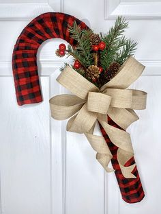 Excited to share this item from my shop: Buffalo Check Candy Cane Wreath, Candy Cane Decor, Candy Cane Door Hanger, Candy Cane Wall Hanger, Holiday Wreath Candy Cane Decorations, Candy Cane Crafts, Candy Cane Wreath, Christmas Door Decorations, Holiday Wreaths, Holiday Decor, Candy Canes, Easy Fall Wreaths, Christmas Wreaths To Make