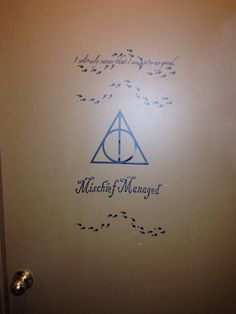 Vinyl door lettering for son's door. Harry potter mischief managed. Made with silhouette cameo.