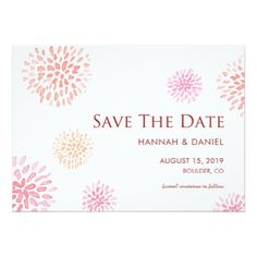 Simple Chrysanthemums Wedding Save the Date Card - diy cyo customize create your own personalize