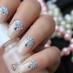 Perfect wedding nails! Light pink with Swarovski crystals