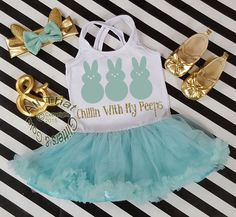 Mint and Gold Glitter 2pc Chillin With My Peeps Tutu Dress