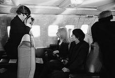 John & Cynthia Lennon, and George Harrison, photo by Harry Benson, 1964