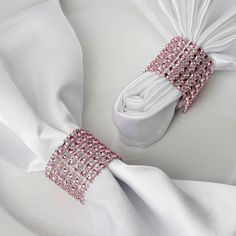 Wholesale Pink Diamond Rhinestone Napkin Ring With Velcro For Wedding Party Banquet Table Decoration - Set of 10 | eFavormart