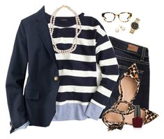 J.Crew stripes & leopard by steffiestaffie on Polyvore featuring polyvore, fashion, style, J.Crew, Uniqlo, Paige Denim, STELLA McCARTNEY, Michael Kors, Tory Burch, OPI and clothing