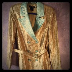 Duro Olowu brocade long trench coat rare Long gorgeous brocade trench coat in rich gold color with turquoise accents. NWOT fits like a size 6 Jackets & Coats Trench Coats
