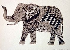 Elephant drawing-- drew a gold elephant that turned out great!